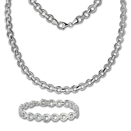 SilberDream Collier & Armband matt rund Silber Schmuck Set für Damen SDS439J