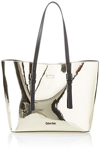 Calvin Klein Damen Ck Zone Medium Shopper Metalic Tote, Gold (Light Gold), 14x25x41 cm