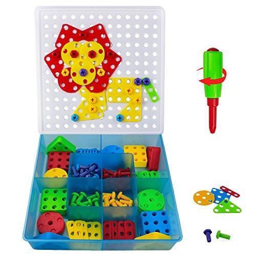 Mosaik Puzzles Spielzeug Bausteine mit einem Schraubendreher und Schrauben 96 Stück für Kinder über 3 Jahre
