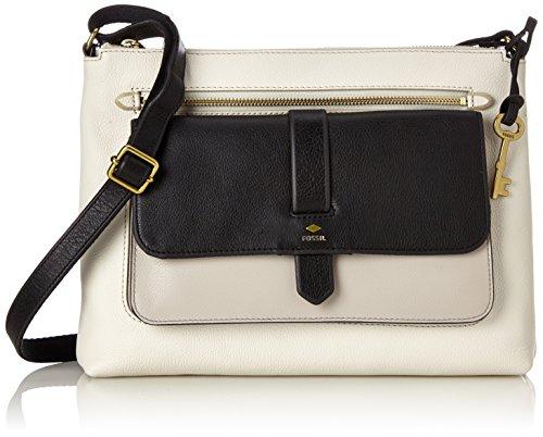 Fossil Damen Damentasche– Kinley Crossbody Umhängetasche, Weiß (White/Black), 6.35x22.86x30.48 cm
