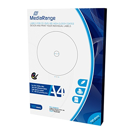 MediaRange Etiketten für CD DVD BD, 15-118mm, hochglänzend, 100er Pack