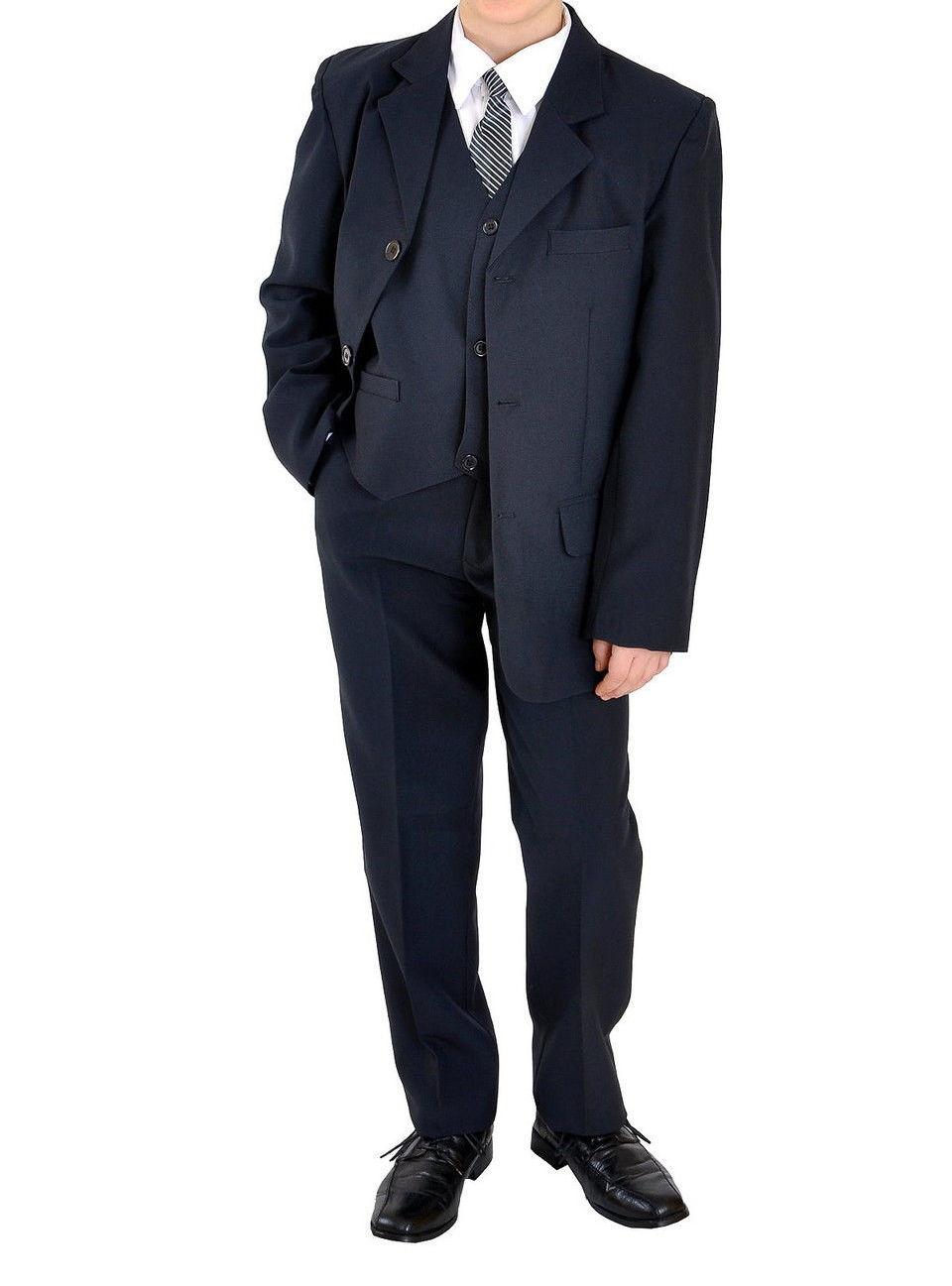 5tlg Jungenanzug Jugendanzug Konfirmationsanzug Firmung Gr.164-176 uni blau