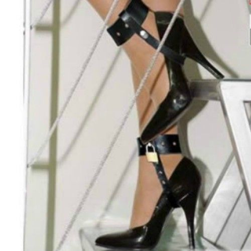 Locking leather CUFFS for HIGH HEELS OT-31-LEA, FREE UK DELIVERY