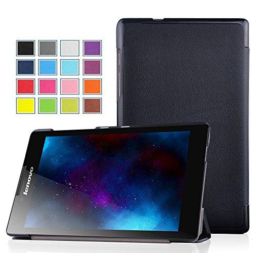 Lenovo Tab 2 A7-10 Hülle - IVSO Ultra Schlank Superleicht Ständer Slim Leder zubehör Schutzhülle für Lenovo Tab 2 A7-10 17,8 cm (7 Zoll IPS) Tablet PC perfekt geeignet, Schwarz