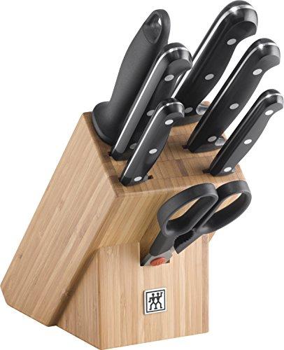 Zwilling 34931-003-0 Twin Chef Messerblock, Bambus, 8-tlg., Rostfreier Spezialstahl, Zwilling Sonderschmelze, genietet, Vollerl, Kunststoff-Schalen, 315 x 115 x 280 mm, schwarz