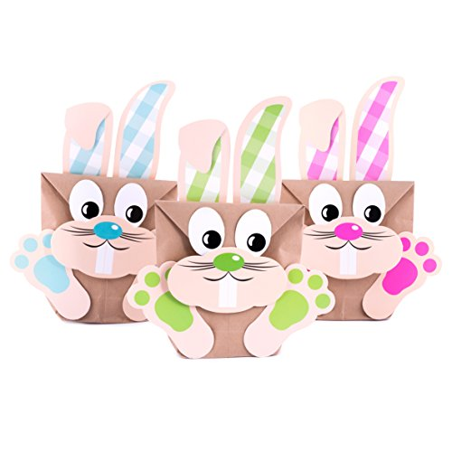 Bastelset Happy Easter, Osterhasen Geschenktüten zum selber Basteln, DIY, 6 Tüten im Set