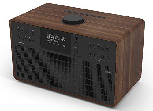 Revo SuperCD Internet-/DAB+ Radio mit CD (40 Watt, Stereo Sound, CD-Player, Internet/DAB+/DAB/UKW,Spotify,WLAN,LAN,Aux In,inkl. Netzteil) walnuss-schwarz