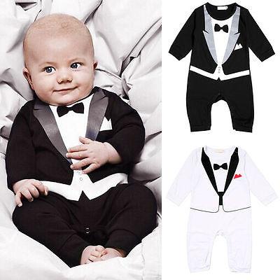 Jungen Kinder Baby Smoking Overall Anzug Strampler Kleidung mit Druck Fliege Neu