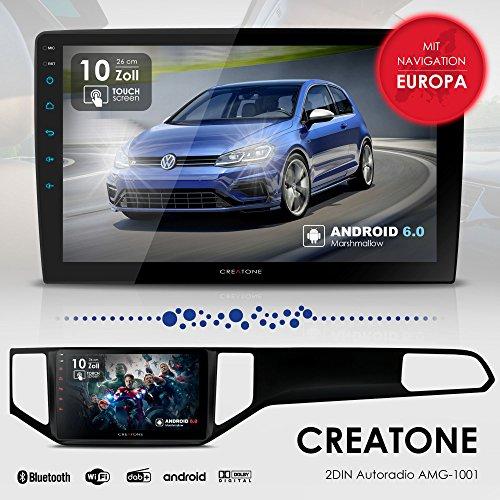 Autoradio Android 6.0 CREATONE AMG-1001 für VW Golf Sportsvan (ab 2014 -) Komplett-Set | 2DIN Naviceiver 10 Zoll | GPS Navigation (aktuelle Europa-Karten mit Radarwarnungen) | DAB+ DigitalRadio | Touchscreen 25cm | USB bis 4TB l Quad-Core Cortex A7 CPU |