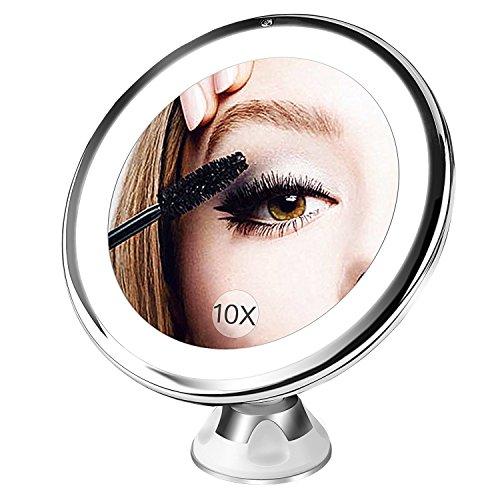 BESTOPE Kosmetikspiegel 10X Vergrößerungsspiegel, Beleuchtet Schminkspiegel mit 10x Vergrößerung und Saugnapf, 360°Schwenkumdrehung Badspiegel, Dimmbare Beleuchtung, Batteriebetrieben Make-Up-Spiegel(Weiß)