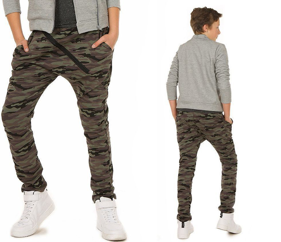 Jungen Kinder Hose Camouflage Baggy Skate Zip Chino 116-158 hk221b