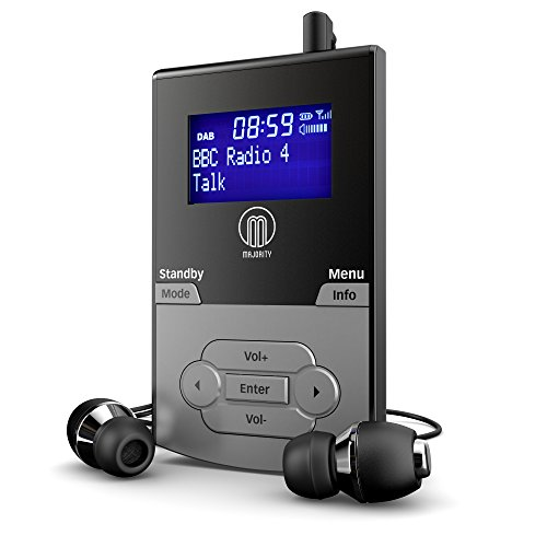 Majority Petersfield DAB DAB+ Digital FM wiederaufladbarer Akku Persönliche tragbare Pocket Handheld Radio/Kopfhörer