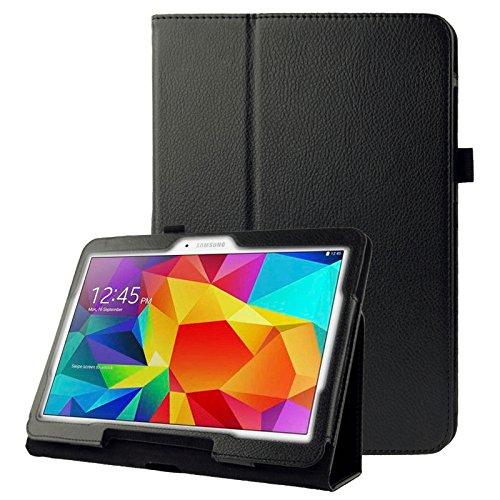subtel® Smart Case für Samsung Galaxy Tab 4 10.1 (SM-T530 / SM-T531 / SM-T533 / SM-T535) Kunstleder Schutzhülle Tasche Flip Cover Case Etui schwarz