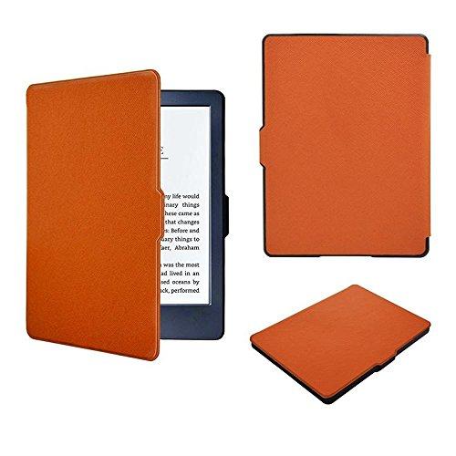 Schutzhülle für Kindle 8. Generation 2016 ,PU Leder Schutzhülle Tasche für Neue Amazon Kindle (8.Generation - 2016 Modell) 6 Zoll eReader Hülle Etui Schale Lederhülle Flip Case Cover (Orange)