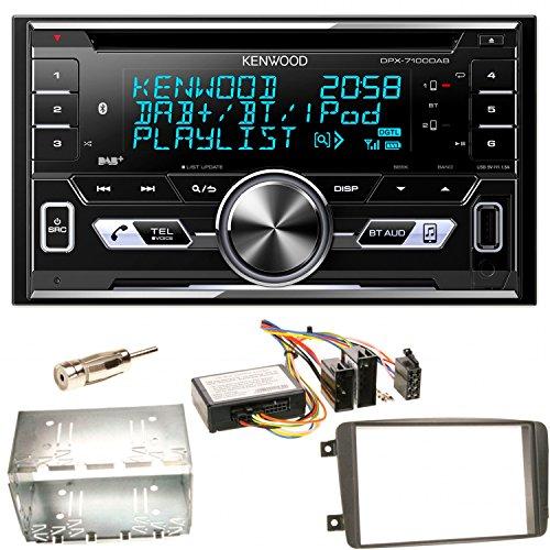 Kenwood DPX-7100DAB Bluetooth USB MP3 Autoradio iPhone iPod Doppel Din AOA 2.0 DAB+ Digitalradio Einbauset für Mercedes C-Klasse W203 CLK W208 W209