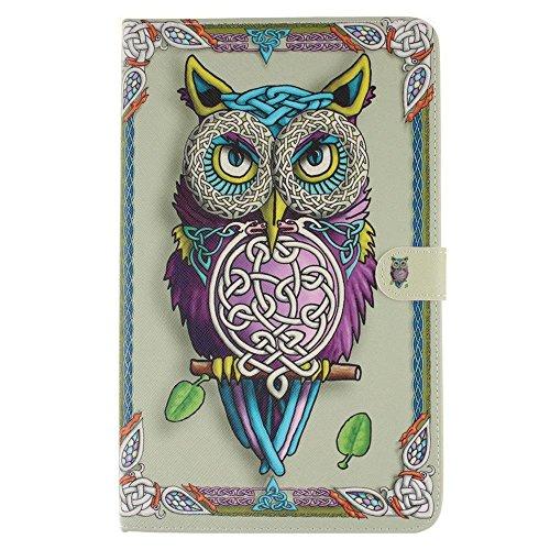KATUMO Tablet Tab A 10.1'' Case, [Flip Book Case] PU Leder Hülle Slim Case Schutztasche für Samsung Galaxy Tab A 10.1'' Tasche Handyhülle Etui Skin im Book Style Design Standfunktion, Violett Eulen