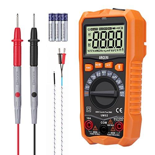 URCERI Digital Multimeter UM02 mit Auto Range, True RMS, 6000 Counts Messgerät für AC-Frequnez, Tastverhältnis, AC-Frequenzumwandlungsspannung, AC/DC Spannung, Strom, Widerstand, Kapazität