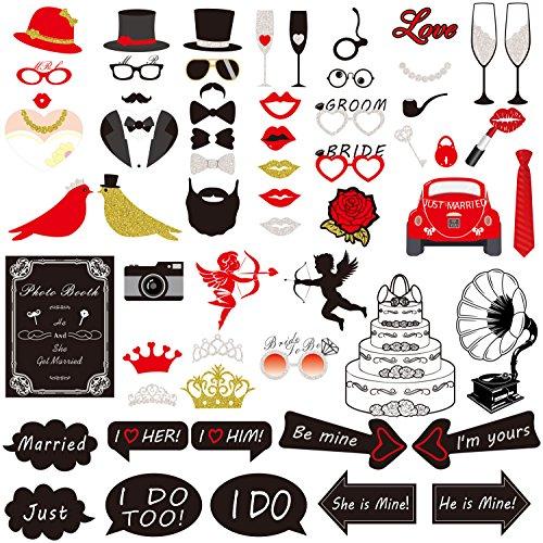 Hochzeit Photo Booth Props, Rymall 60 Tlg Photo Booth Geburtstags Hochzeits Partei Funny Verkleidung [Schnurrbart Lippen Brille Krawatte Hüten] Dekoration Fotorequisiten Set