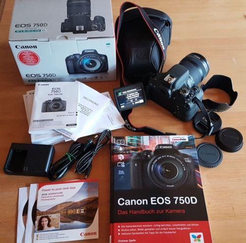 Canon EOS 750D SLR-Digitalkamera + Kit EF-S 18-135 mm IS STM Objektiv + Paket