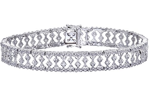 Naava Damen-Armband 9 Karat Weißgold 0,5 ct Diamanten Illusion Setting Gewicht PBC01845W