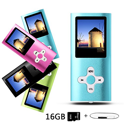 Btopllc MP3-Player, MP4-Player, Musik-Player, tragbarer 1,7-Zoll-LCD-MP3 / MP4-Player, Media Player 16 GB-Karte, Mini-USB-Port USB-Kabel, HiFi-MP3-Player, Voice Recorder Media Player - Blau