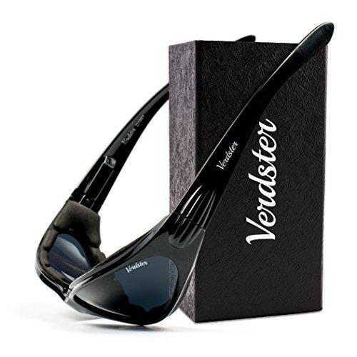 Verdster TourDePro POLARISIERTE Sonnenbrillen für Herren und Damen - ideal zum Fahren, Angeln oder für Motorrad - UV geschützter, verbesserter, komfortabler, faltbarer Rahmen (Schwarz)