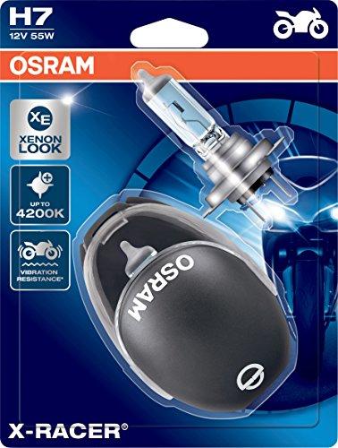 OSRAM 64210XR-02B X-RACER H7 Halogen Motorrad-Scheinwerferlampe, Doppelblister (2 Stück mit Miniatur Motorradhelm)