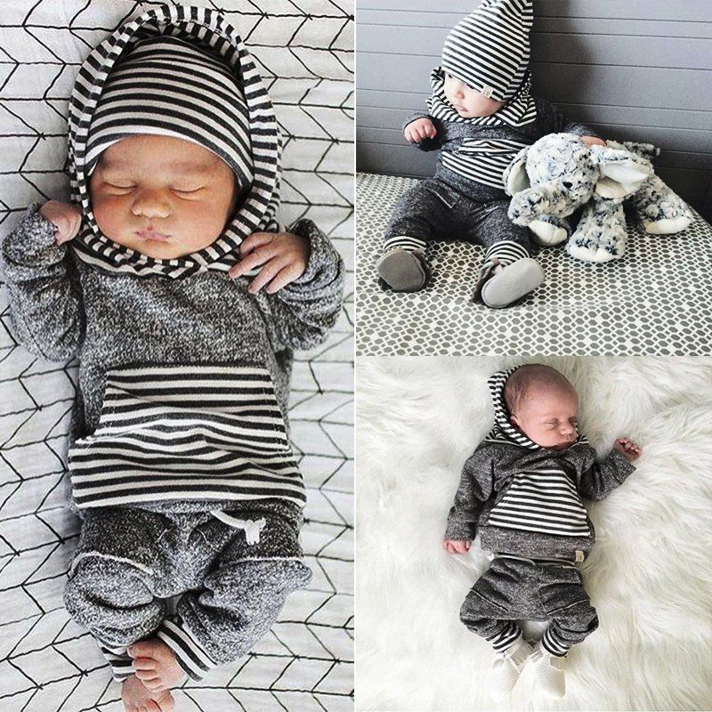 2Tlg Set Baby Jungen Gestreift Kapuzenpullover Hoodie Tops Hose Outfits Kleidung