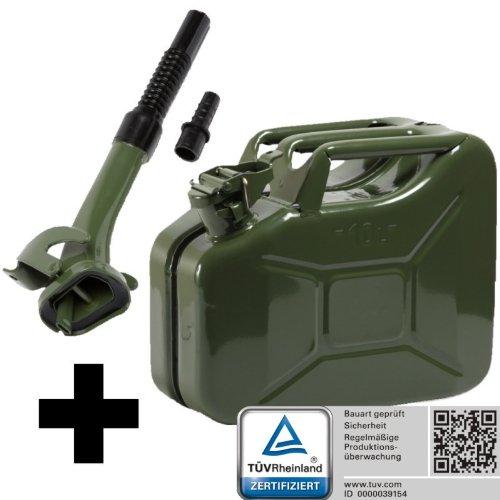 Oxid7® Benzinkanister Kraftstoffkanister Metall 10 Liter Olivgrün inkl. Ausgießer mit UN-Zulassung - TÜV Rheinland Zertifiziert - Bauart geprüft - für Benzin und Diesel