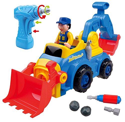 Zerlegbares Spielzeug für Jungen und Mädchen TG652 - Bump and Go Baufahrzeug mit 4 Modelloptionen (Bulldozer, Müllwagen, Bagger, Betonmischer) mit elektrischem Bohrer - Spielzeuge für Kleinkinder