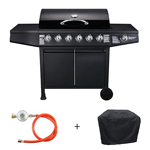 TAINO® BASIC Gasgrill Grillwagen BBQ Edelstahl-Brenner + Seitenkocher Gas-Grill TÜV Schwarz (6+1 Gasgrill inkl. Zubehör)