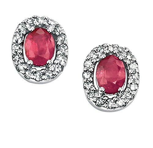 Elements Damen-Halskette 9 Karat (375) Gelbgold Diamant Rubin Oval Ohrstecker Ohrringe mit 0.79 der cm Höhe