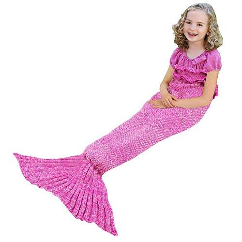 Meerjungfrau Schwanz Decke für Kinder Jugend Erwachsene, manuelle gehäkelte Decke, Jahreszeiten Warm, weiche Wohnzimmer, Schlafsack, bestes Geburtstagsgeschenk (Kinder Größe, Rosa)