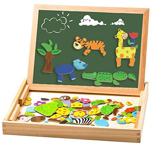 Uping magnetisches Holzpuzzle Staffelei doppelseitige Tafel Holzbrett Doodle 110 Stücke für ab 3 jahre Kinder