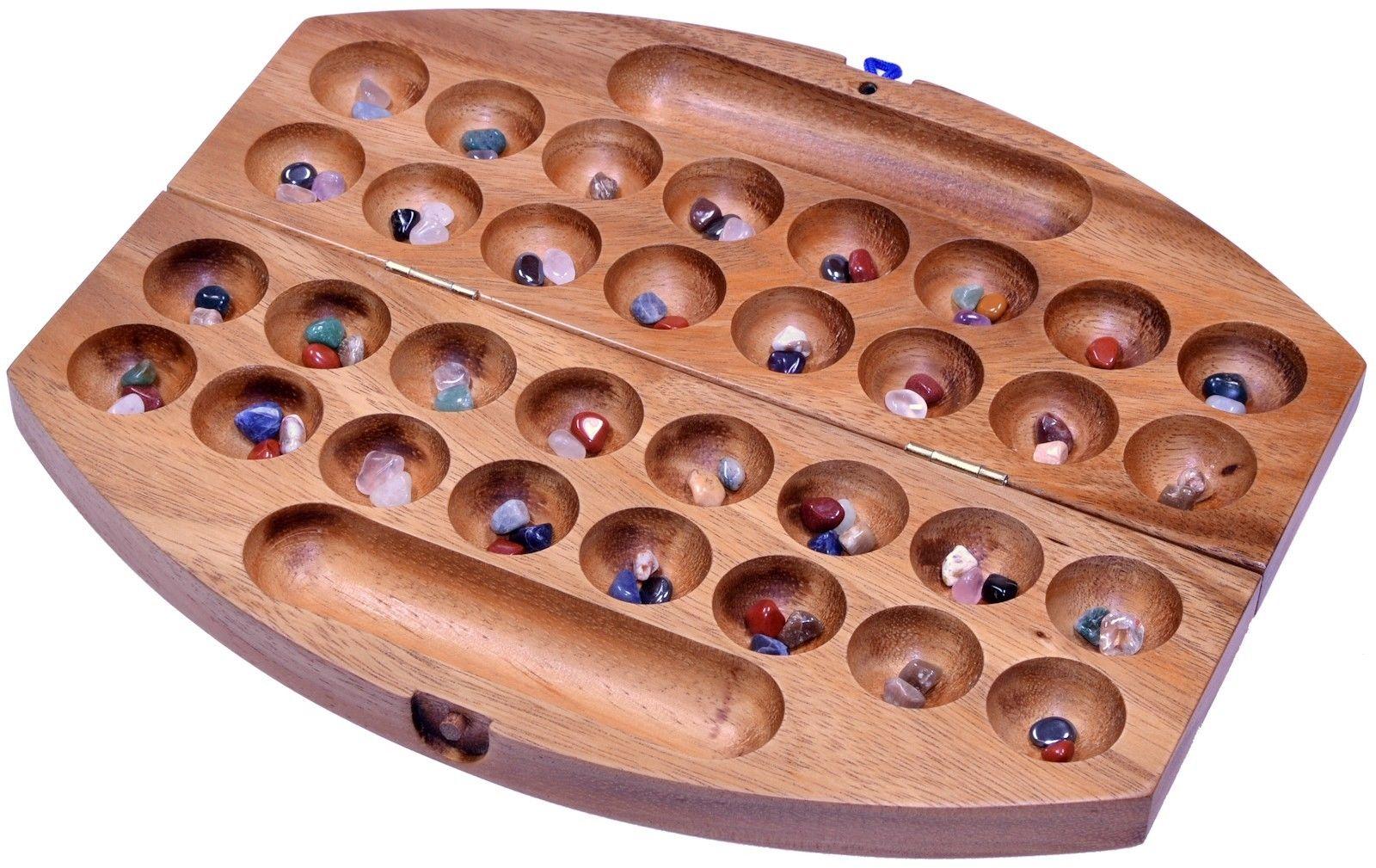 Bao Hus Kalaha Steinchenspiel Edelsteine Spiel oval Samena Holz Gr. L - 2. Wahl