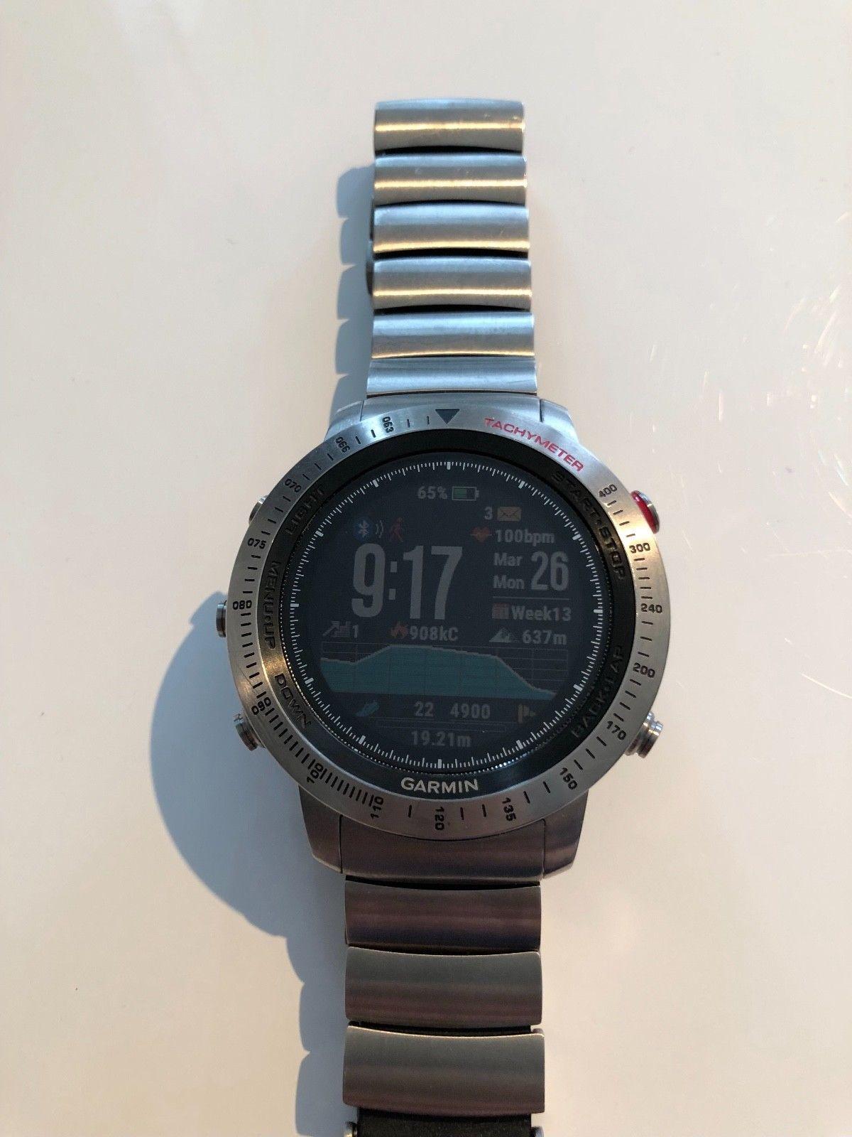 Garmin Fenix Chronos Titan Herren Armbanduhr Smartwatch mit 2 extra Armbändern