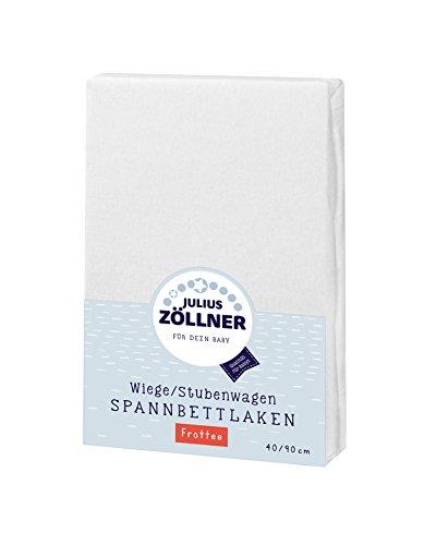 Julius Zöllner 8310013100 - Spannbetttuch Frottee für die Wiege, Größe: 90 x 40 cm, Farbe: weiß