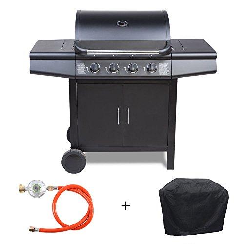 TAINO® Gasgrill BBQ Grill-Wagen 4 Edelstahl-Brenner TÜV Gasbrenner Farbe Schwarz Zubehör Haube Regler