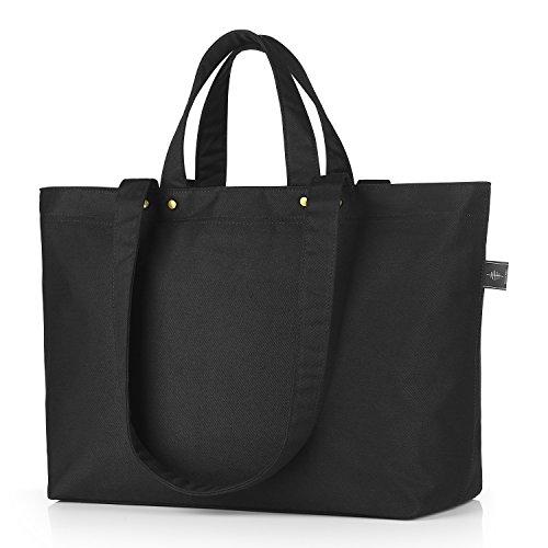 BONTHEE Canvas Handtasche Damen Große Shopper Tasche für Schule Reisen Arbeit - Schwarz_Basic