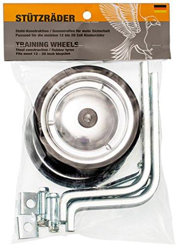 PROMETHEUS Stützräder für Kinderfahrrad | Universell für 12-20 Zoll Kinderfahrräder | Nur zur Montage auf der Fahrrad Hinterradachse geeignet! | Stahlkonstruktion mit Gummi-Reifen | Edition 2018