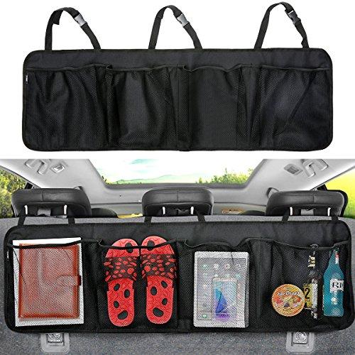 Kofferraum Organizer Auto MATCC Aufbewahrungstasche Oxford-Gewebe Auto Netz Tasche Sitzlehnentasche Multitasche Gepäcknetz Rücksitz Organizer Rücksitztasche(110*35cm)