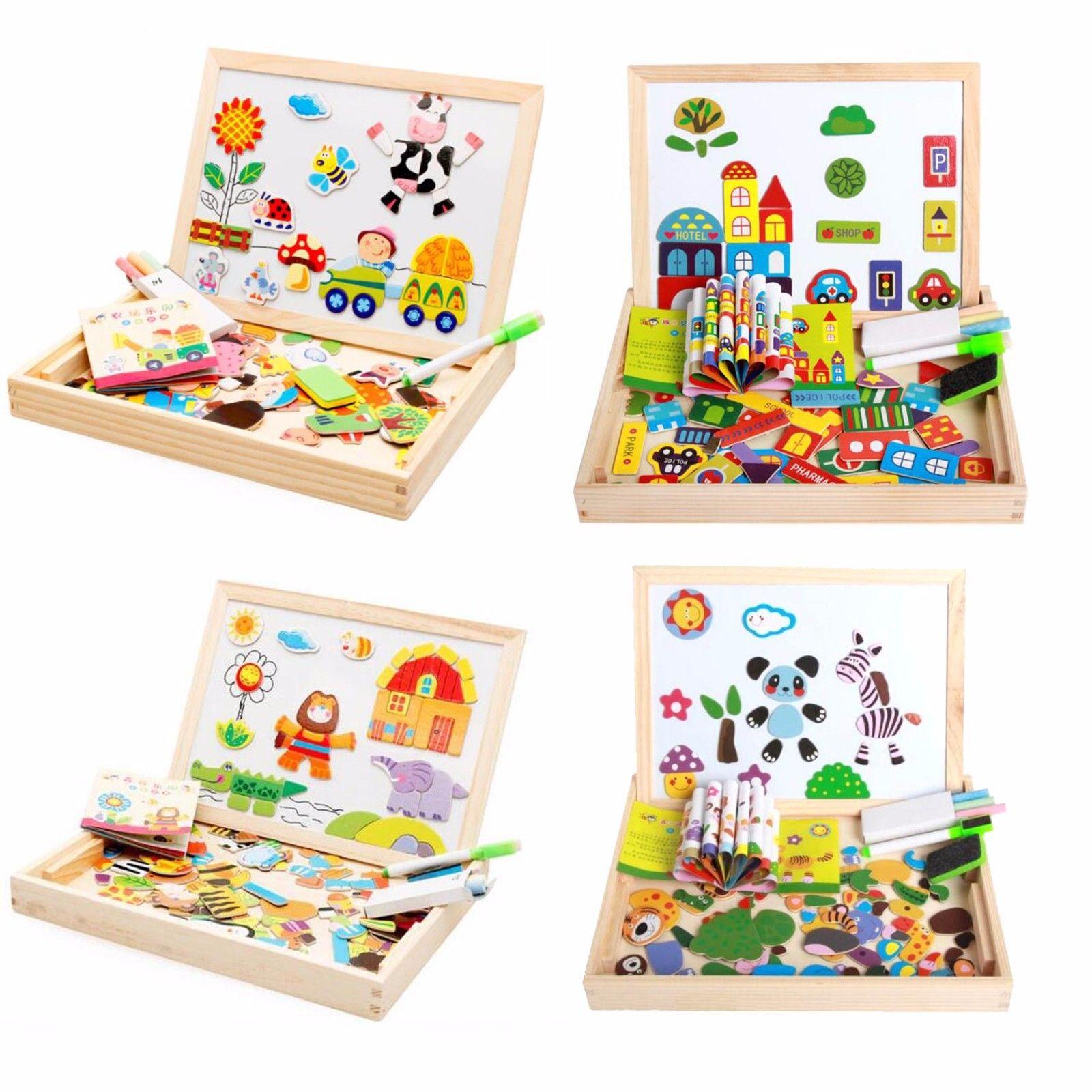 Magnetisches Holzpuzzle Doppelseitiges Holzspielzeug Kleinkinder Ab 3 Jahre Neu