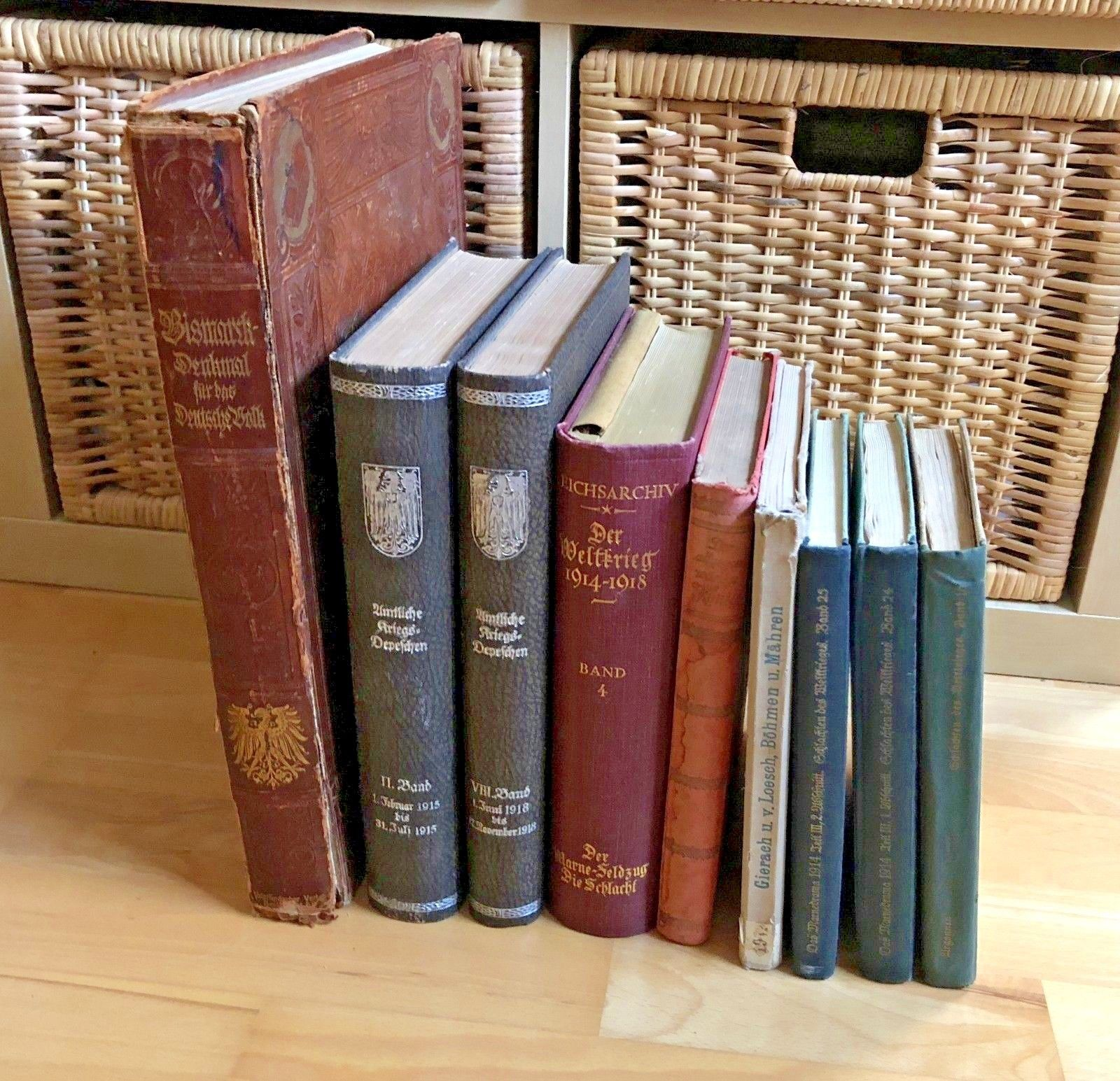 Büchersammlung 9 alte Militär Bücher 1.WK. Dachbodenfund ANSEHEN