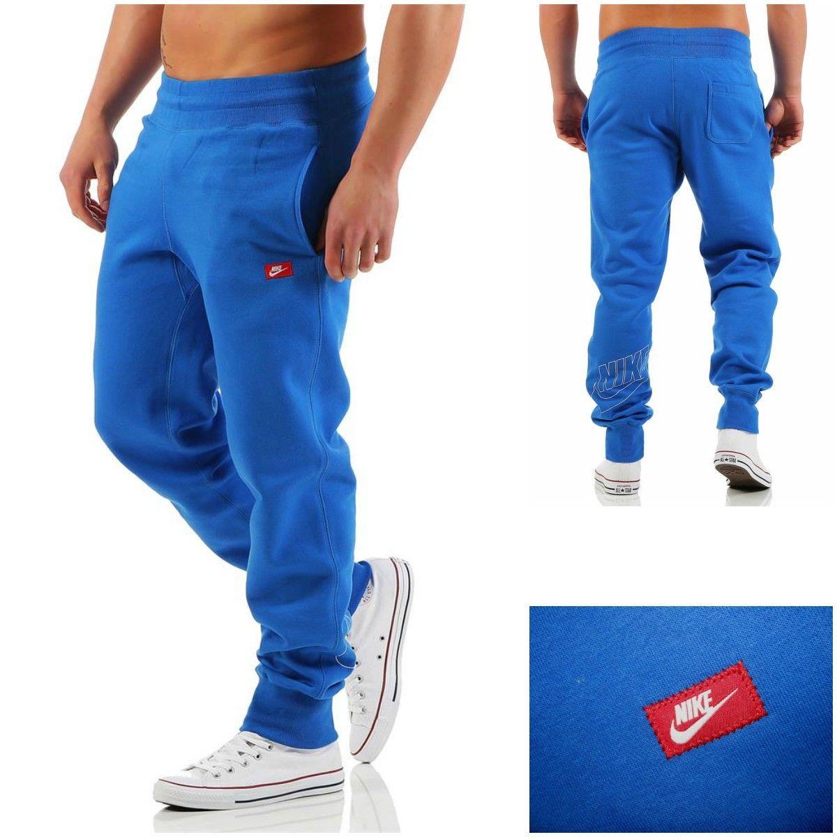 Nike Mens Sweat Pants Tracksuit Jogging Jog Bottoms Fleece Joggers Blue S, M NEW