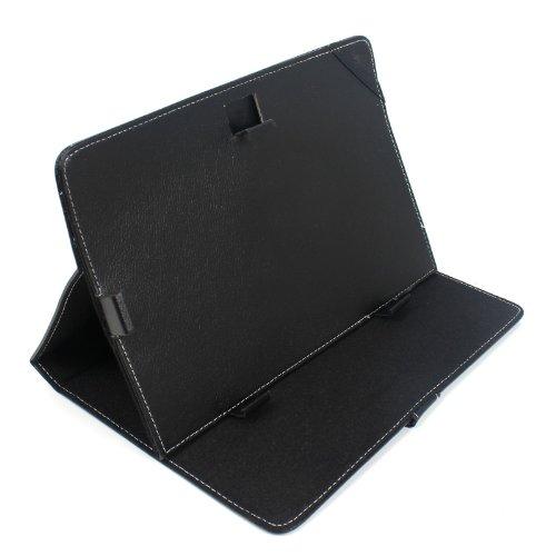 2-TECH Cover in schwarz passend für alle 10 Zoll (25,4cm) Tablets Tasche Schale Ledertasche (Diagonale 9,7 bis 10,1 Zoll)