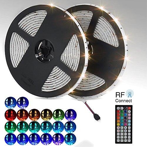 [Upgrade] LED Streifen 10m/2x 5m strip light 20RGB RF Kontrol 300leds 5050SMD 44 Tasten Led Band IP65 wasserdichte LED Schlauch Led Lauflicht LED Leiste LED Lichtleiste für Küchenschrank Beleuchtung/Innenbeleuchtung