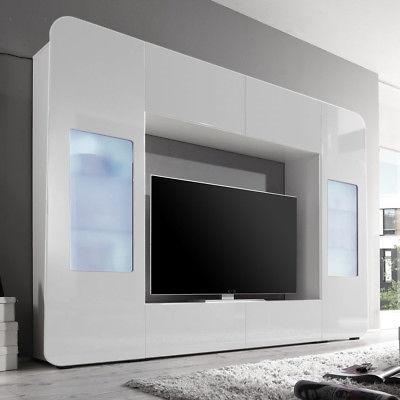 Wohnwand Mediawand Kino 2 TV-Wand Anbauwand in weiß Hochglanz inkl. LED