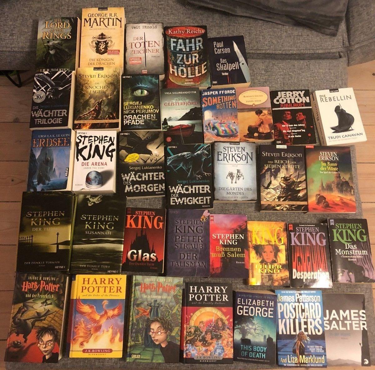Konvolut Bücher - 36 Romane, Fantasy Sci-Fi - Stephen King, Harry Potter...