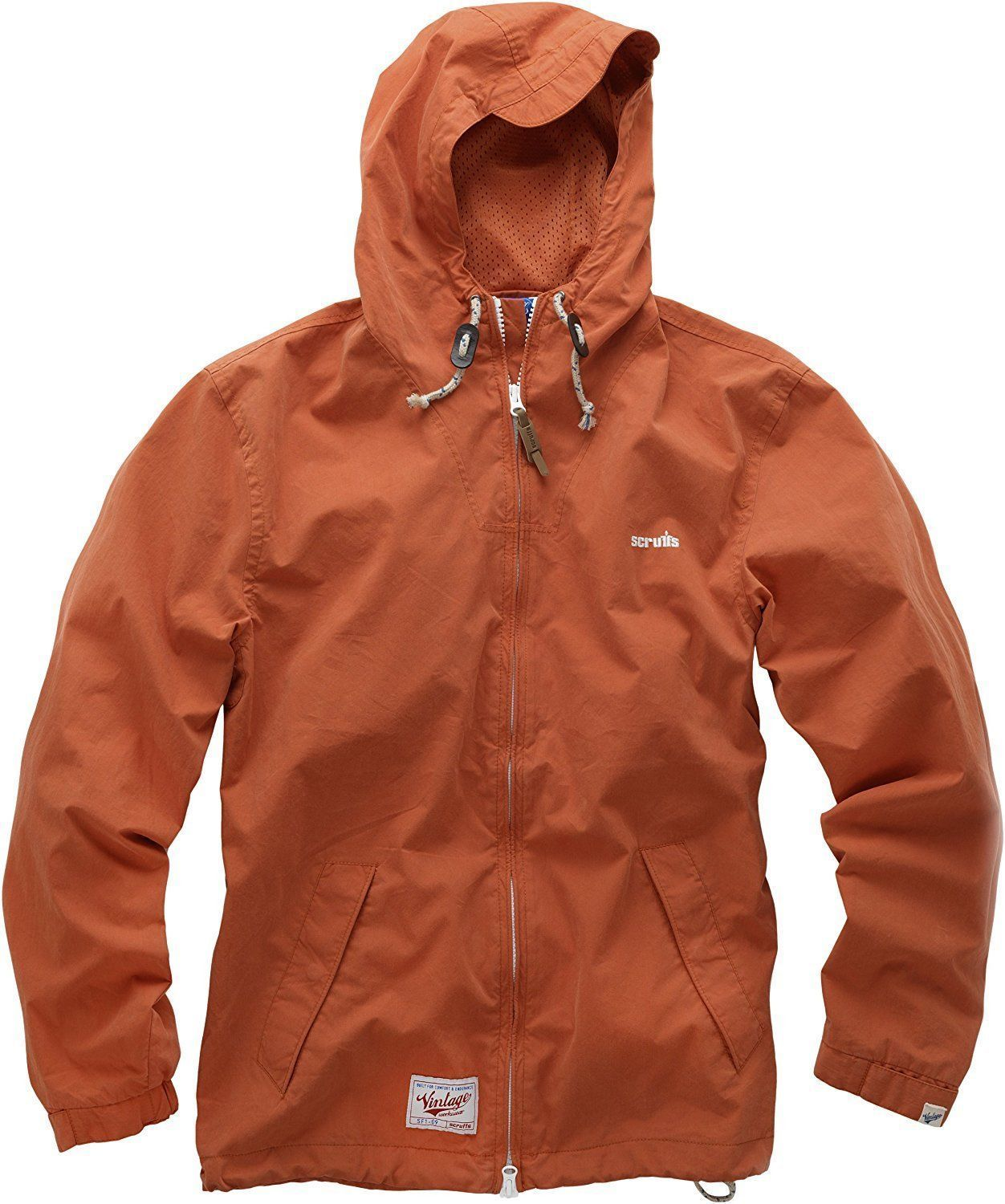 Scruffs Vintage Zip Thru Mac Jacket Orange Water Resistant Hooded Coat (M-XL)