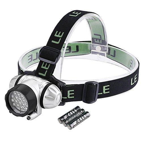 LE Superheller LED Stirnlampe, LED Kopflampe, 18 Weiße LED und 2 Rote LED, 4 Helligkeiten zu wahlen, LED Stirnlampen, LED Kopflampen, Kopfleuchten, leicht und superhell, ideal für Wandern, Camping, Ausflug